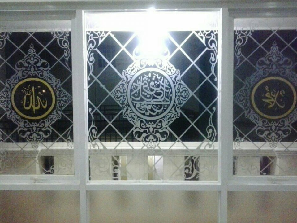motif sticker sandblast masjid